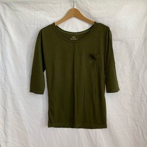 Aerie Olive Green 1/2 Length Sleeve T-Shirt